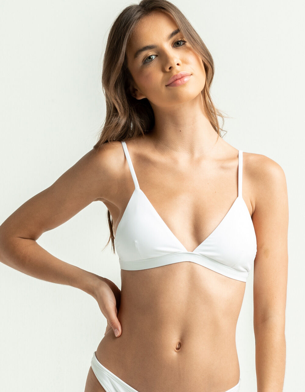 FULL TILT Fixed Triangle White Bikini Top