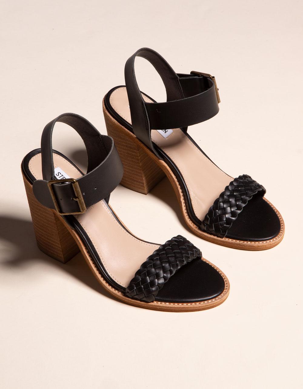 STEVE MADDEN Cadence Black Leather Heeled Sandals