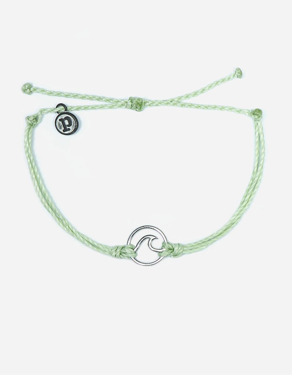 PURA VIDA Wave Mint & Silver Bracelet