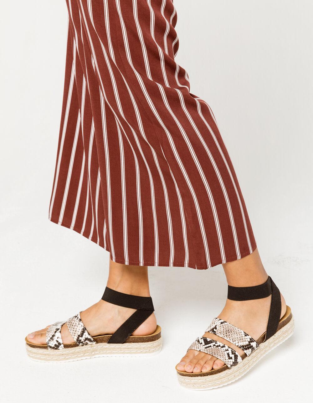 YOKI Chiara Snake Espadrille Flatform Sandals