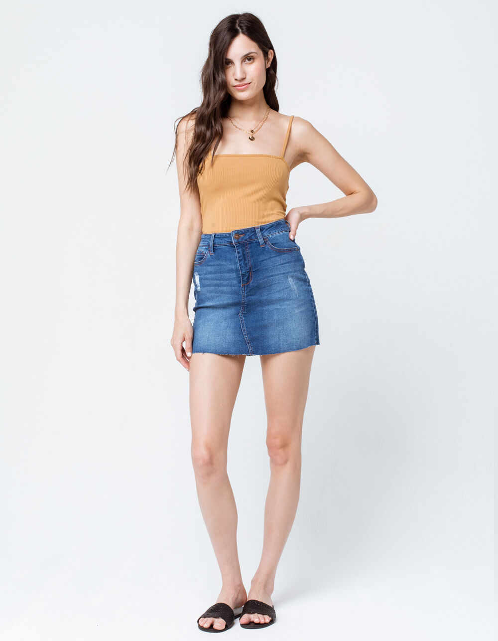SKY AND SPARROW Ripped Denim Mini Skirt