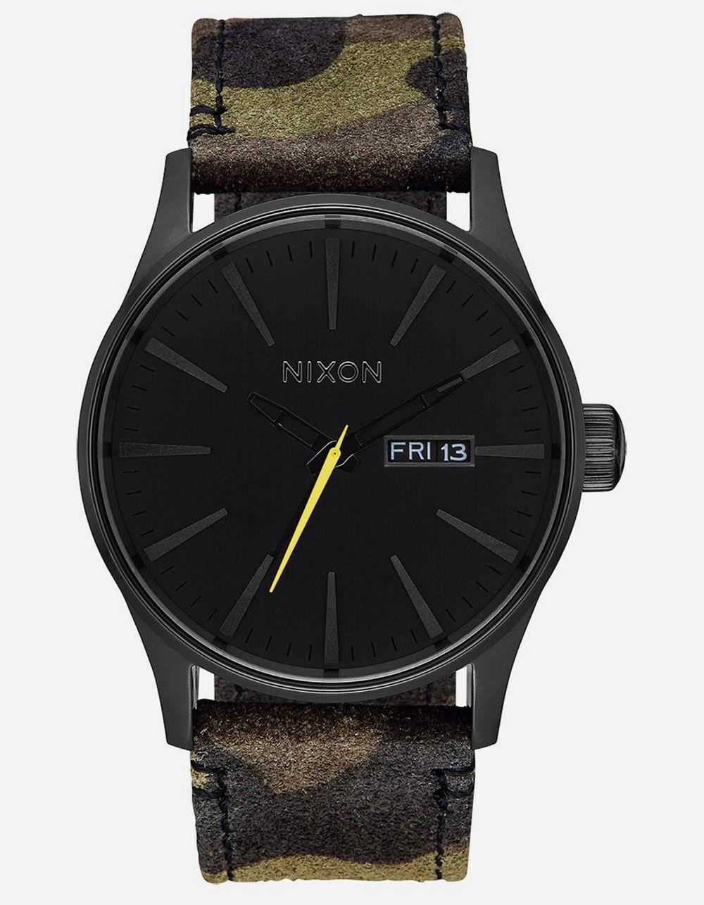 NIXON Sentry Leather Black & Camo Watch