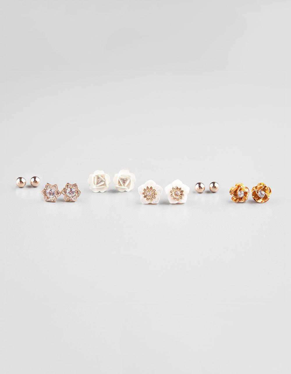 FULL TILT 6 Pair Coral/Shell/Flower/Post Earrings