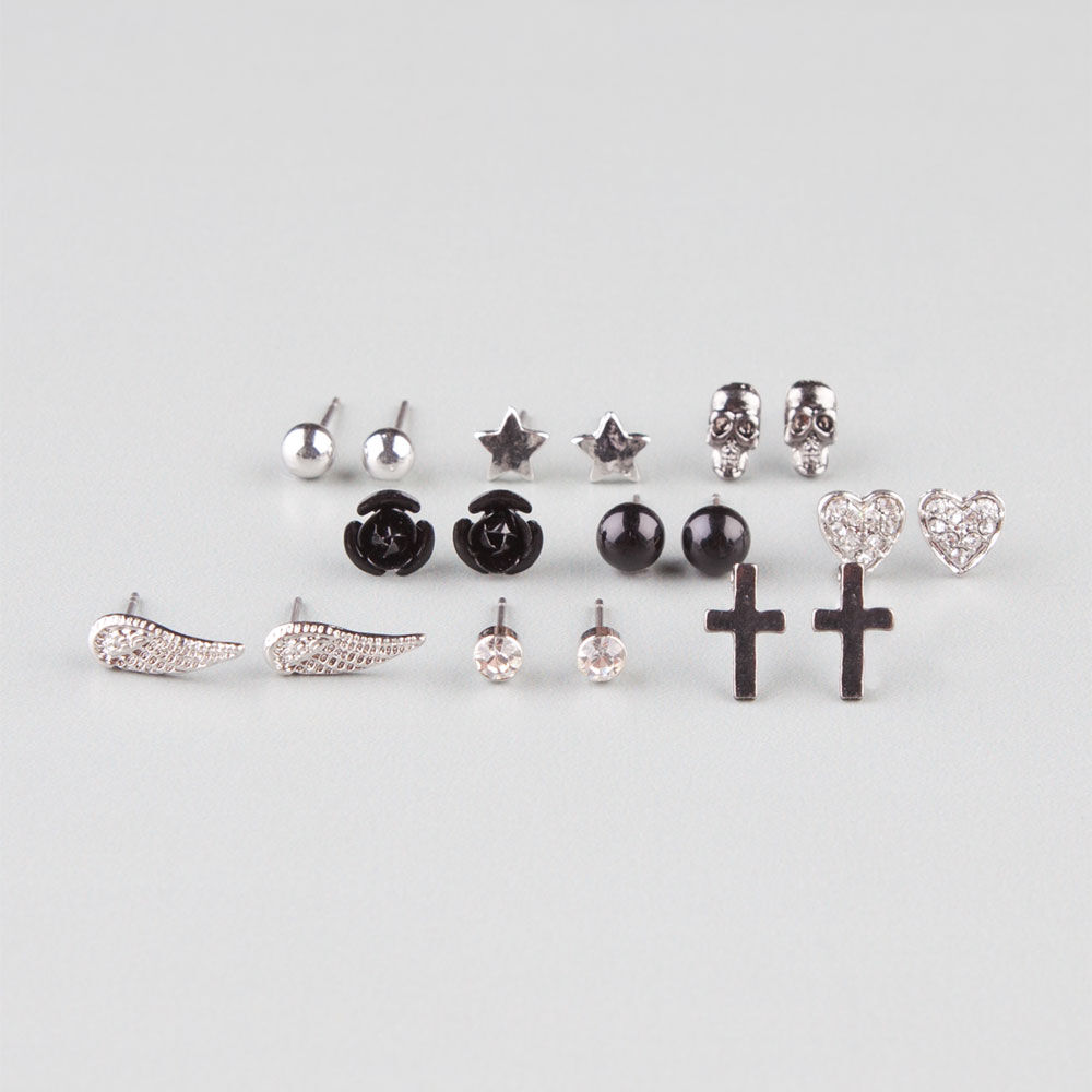 FULL TILT 9 Pair Star/Skull/Wing Earrings